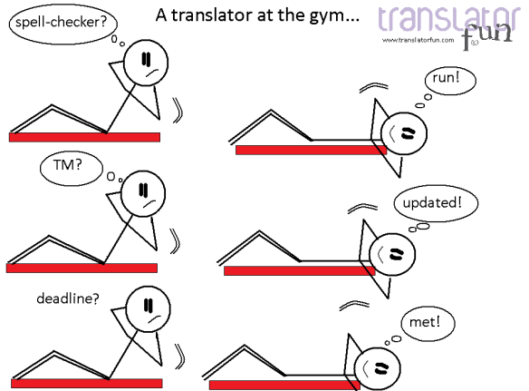 A translator at the gym -- click on the image to enlarge it.