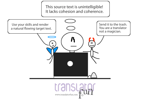 What to do with an unintelligible source text.