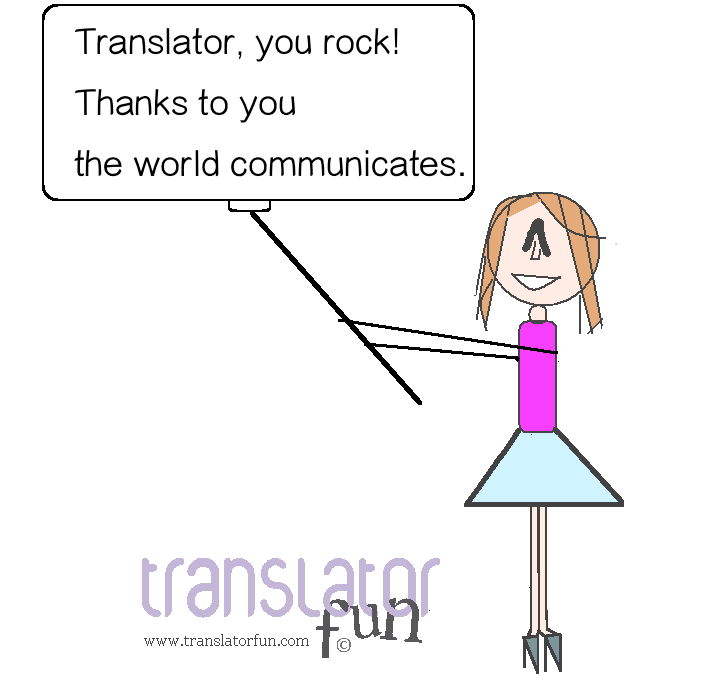 Translators holding a you-rock sign