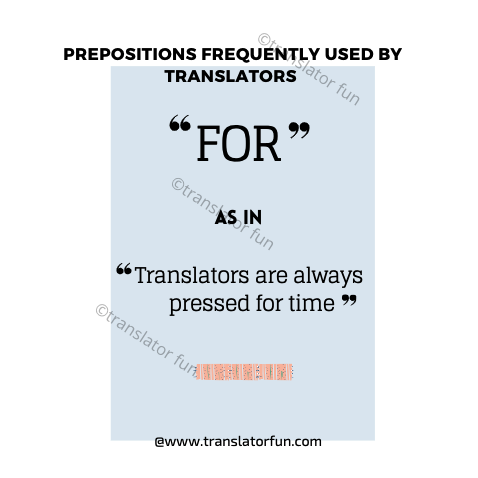Prepositions most frequently used by translators