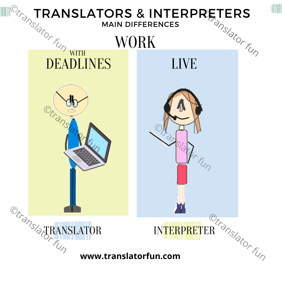 Translators have deadlines to meet and interpreters work on the spot
