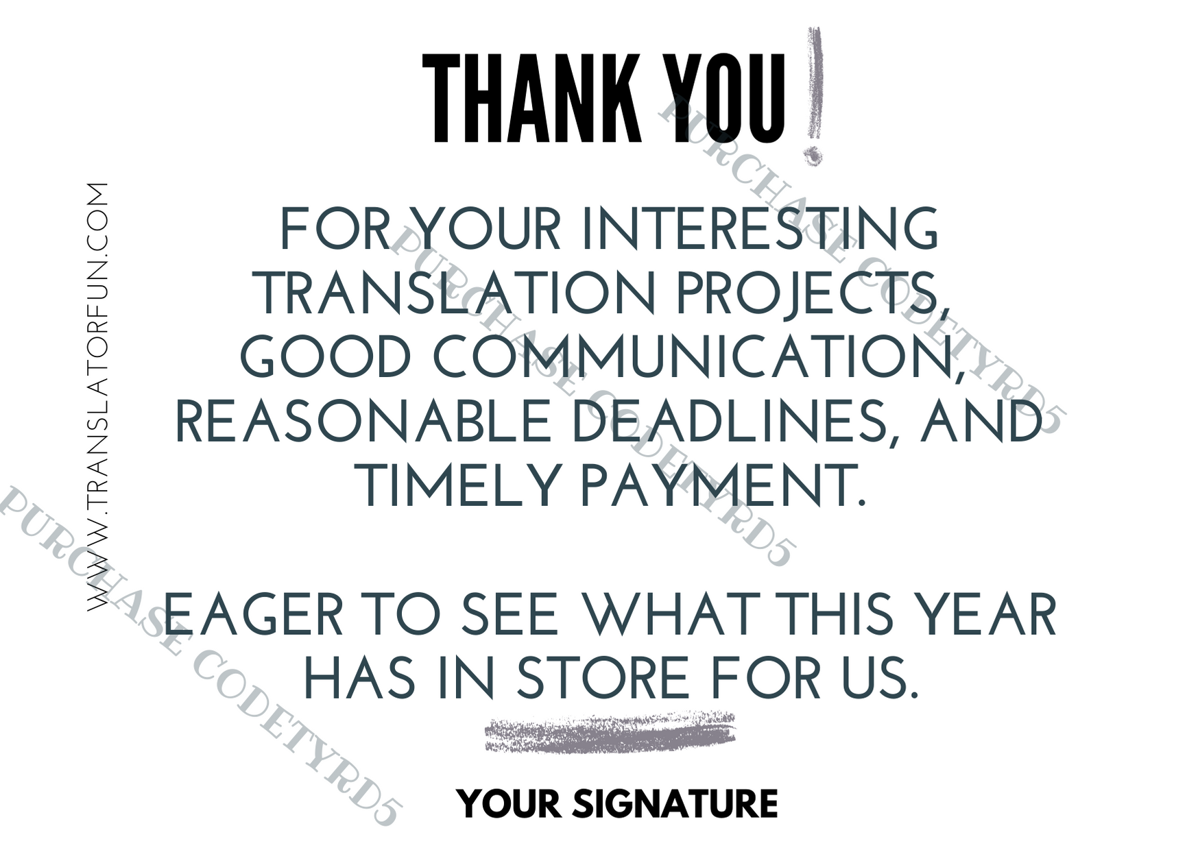 Thank you cards to send to end clients and translation agencies TYRD5