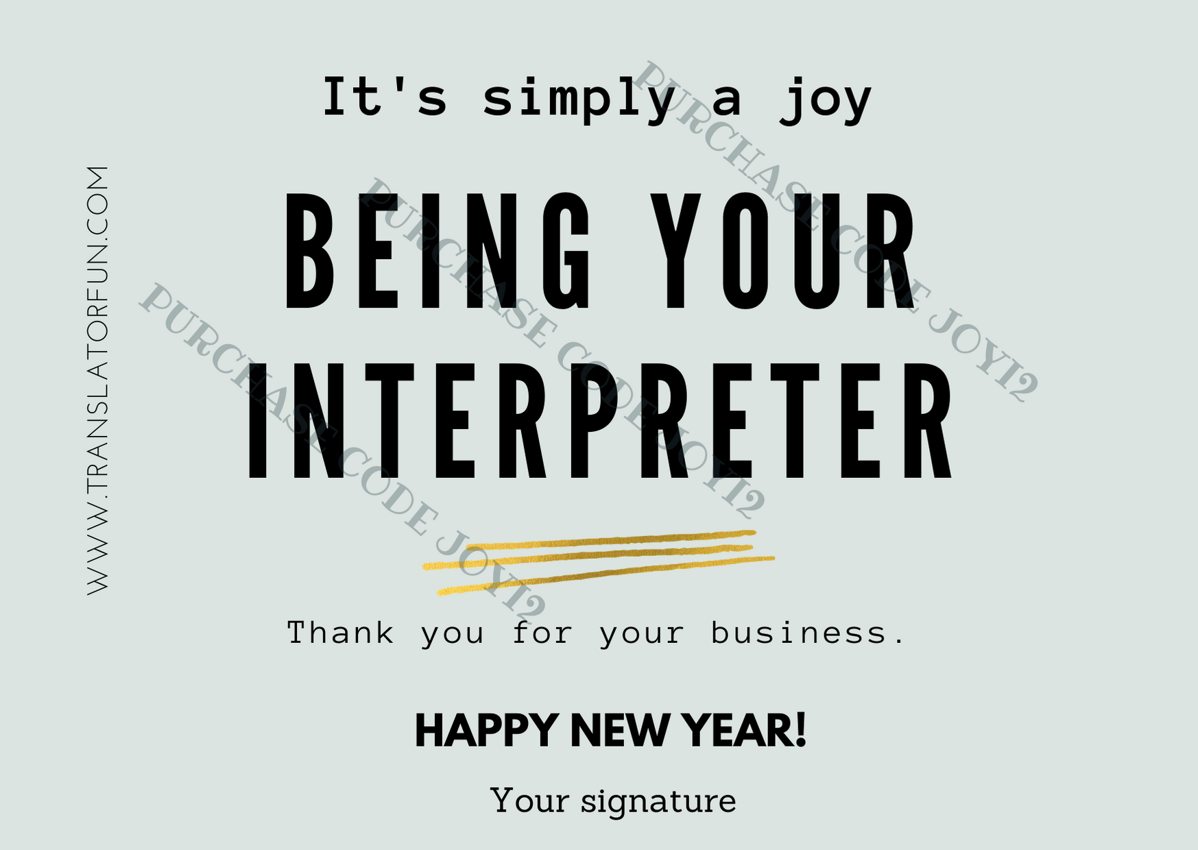 Thank you card for interpreters JOYI2